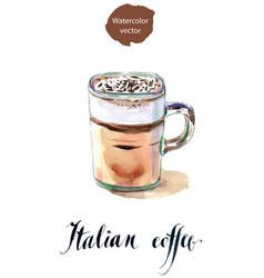 Glass italian coffee vector