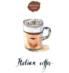 Glass of italian coffee vector