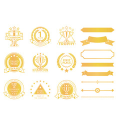 Grand prize award certificates and ribbons in gold vector