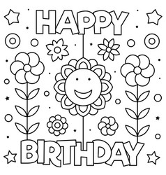 happy birthday coloring page black and white vector image