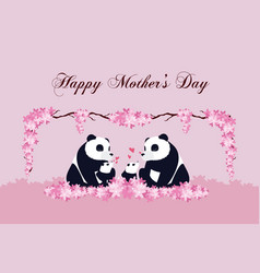 Happy mothers day panda cartoon vector