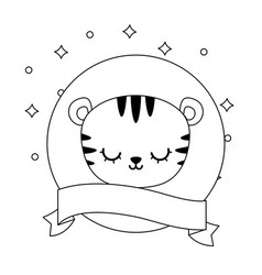 Head cute tiger in frame circular with ribbon vector