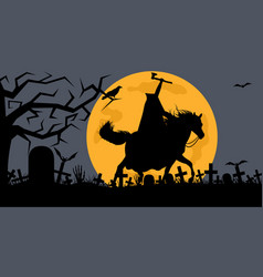 headless man riding a horse in a cemetery vector image
