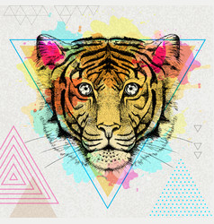 Hipster animal tiger on artistic polygon vector