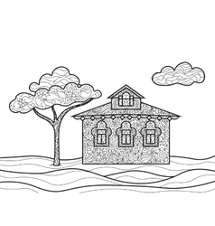 House coloring book for adults vector