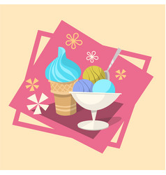 Ice cream summer cold dessert icon vector