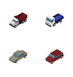isometric transport set of freight auto lorry vector image