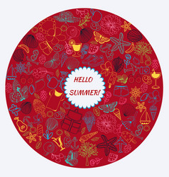 line art set summer theme doodle collection in vector image