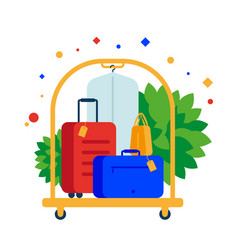 luggage cart or hotel trolley with suitcases vector image