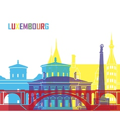 Luxembourg skyline pop vector image