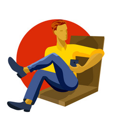 man sitting playing with smartphone texting vector image