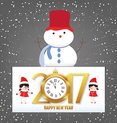 Merry Christmas and Happy New Year 2017 clock vector