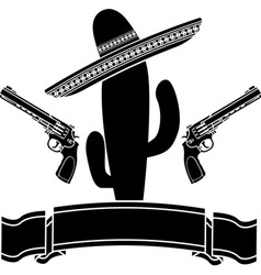 mexican cactus and two pistols vector image