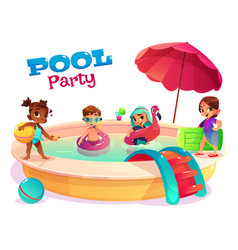 Multiethnic kids swimming in pool carton vector