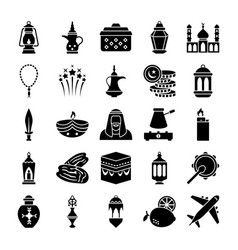 Old traditional heritage glyph icons vector