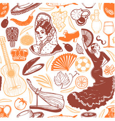 pattern with spanish symbols in hand-drawn style vector image