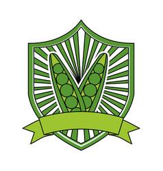 peas fresh healthy food emblem vector image
