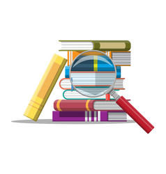 pile books and magnifying glass vector image