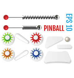 Pinball set bumpers and flippers mockup kit vector