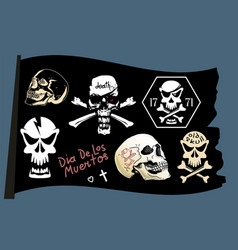 pirate flag skull set vector image
