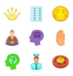Psychology icons set cartoon style vector