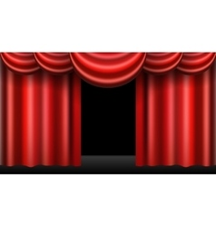 Red theatre curtain realistic isolated vector