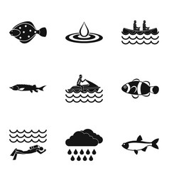 Reservoir icons set simple style vector
