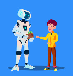 robot gives money to child isolated vector image