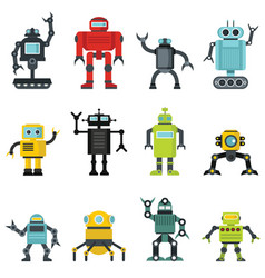 robots set in cartoon flat design vector image