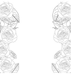 Rose flower frame outline border vector