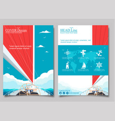Sailing ship with red sail posters vector