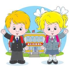 Schoolchildren before a school vector image