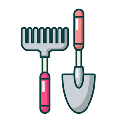 Scoop and hand rake icon cartoon style vector