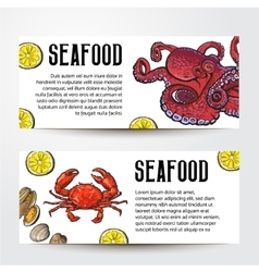 Seafood restaurant cafe banner templates with vector