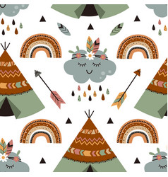 seamless pattern with tribal cloud and tent vector image