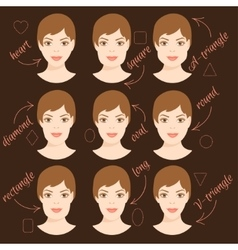 Set of different woman face shapes 6 vector