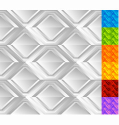 set of rhombus pattern in 7 color monochrome vector image