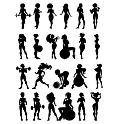 Set of silhouette of sexy girls involved in sports vector