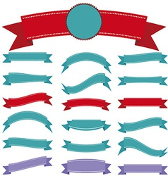 set vintage ribbon on a white background vector image
