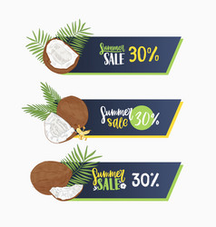 set web banners decorated exotic coconut vector image