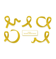 set yellow curly ribbons and loops realistic vector image