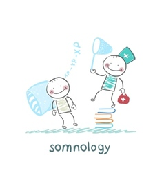 somnology standing on a pile of books and catches vector image