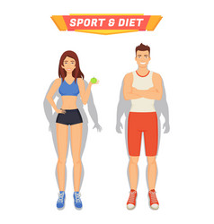 sport and diet poster people vector image