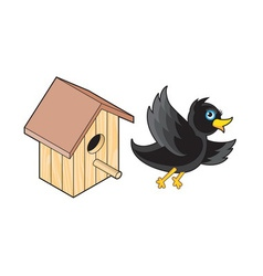 Starling and Nesting Box vector
