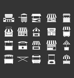 street shop icon set grey vector image