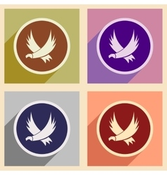 Stylish assembly silhouettes eagles vector