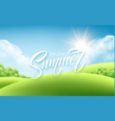 summer lettering on landscape background vector image