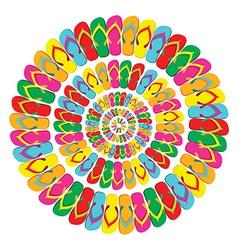 Summer multicolor flip flops mandala vector image