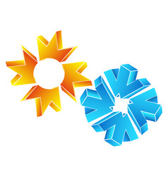 Sun and snowflake abstract vector
