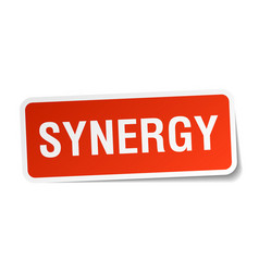 Synergy square sticker on white vector